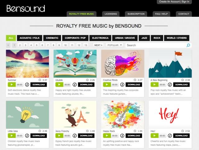 Op de website van bensound vind je royalty vrije muziek