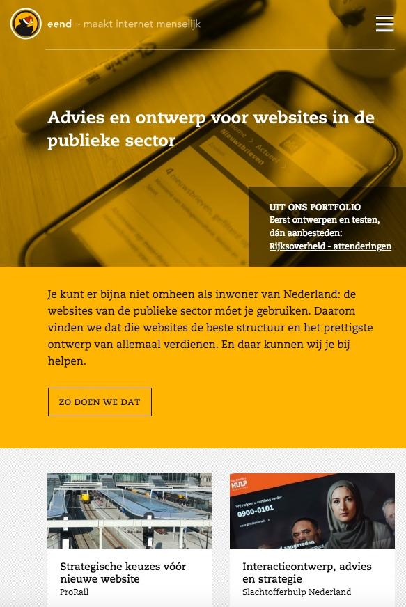 De website van Eend, maakt internet menselijk