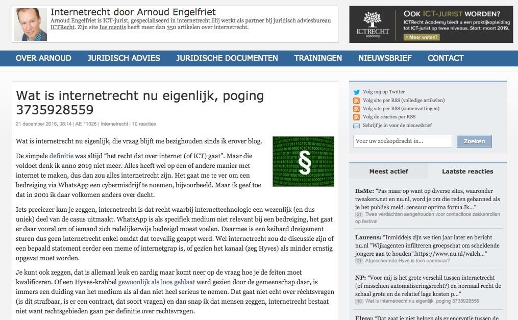 iusmentis, de blog van Arnoud Engelfriet over Internet recht