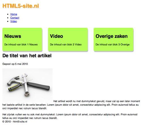 HTML5 website, tweede versie, nu met CSS