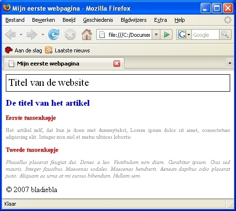Pagina in Firefox