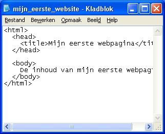 website in kladblok in html geschreven