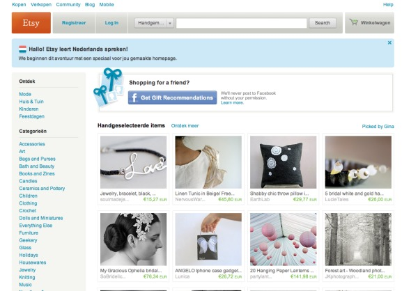 website van Etsy in 2011