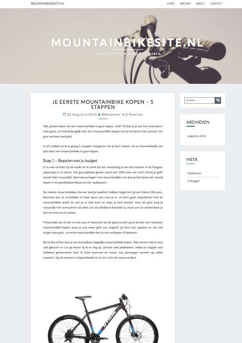 Screenshot van mountainbike site