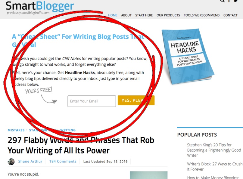 nieuwsbrief bovenaan een blog