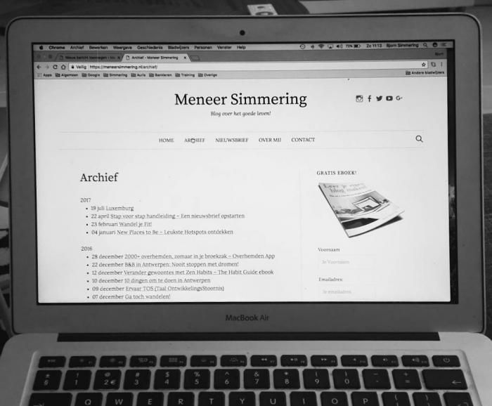 Bloggen van meneersimmering, screenshot