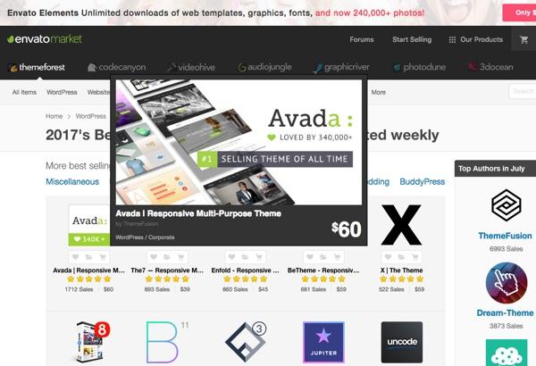 Themeforest, marktplaats voor WordPress themes