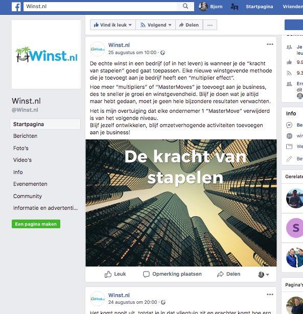 Facebook pagina met een artikel, content