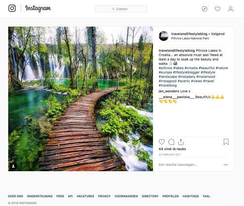 Een instagram foto voorzien van content