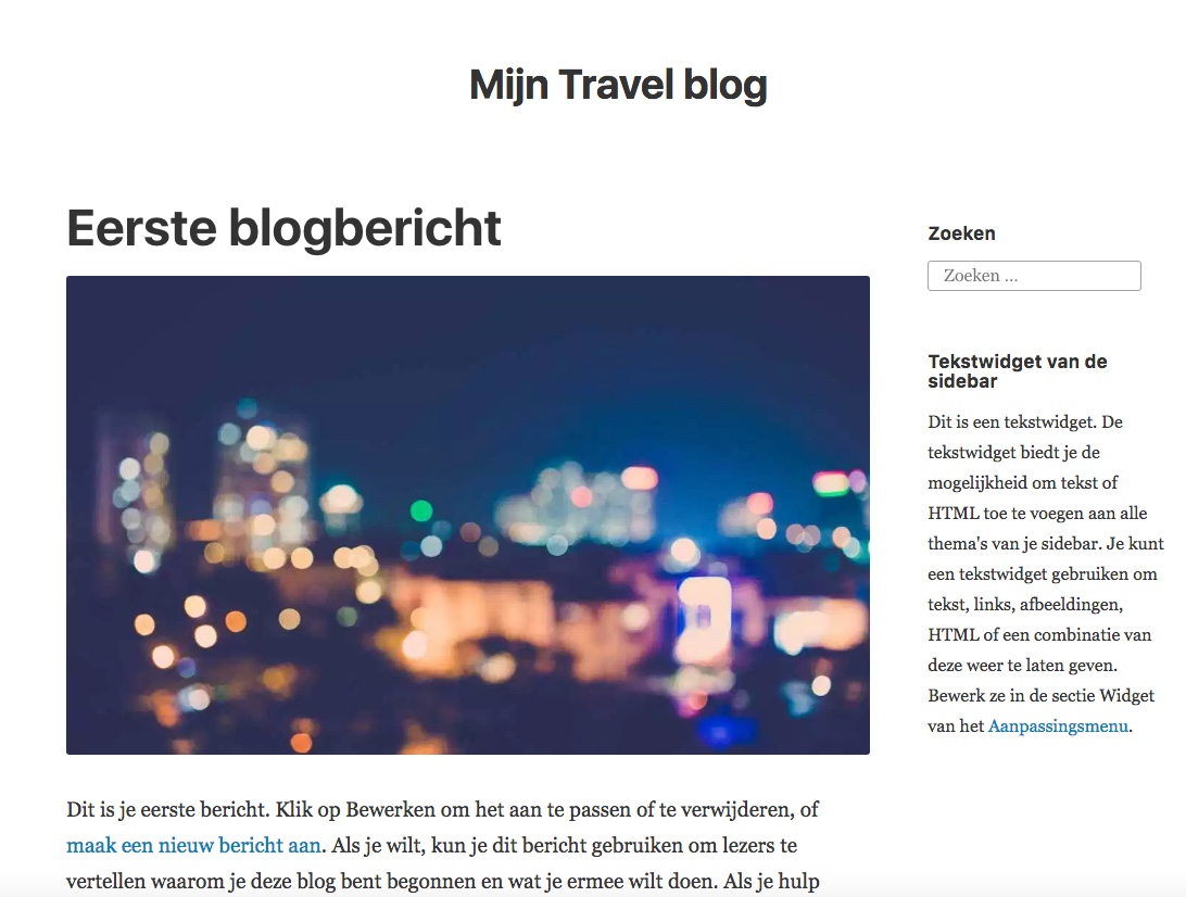 En zo ziet je gratis blog er dan uit, of anders...