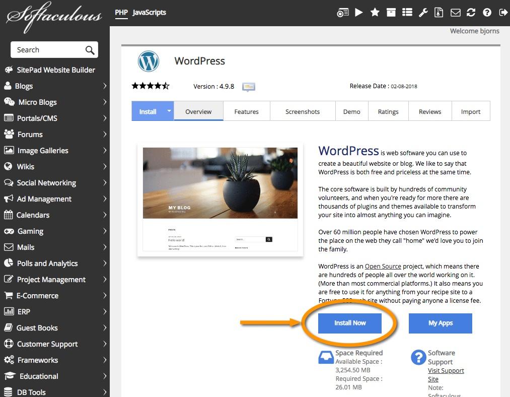 Softaculous laat je WordPress gemakkelijk en snel installeren.