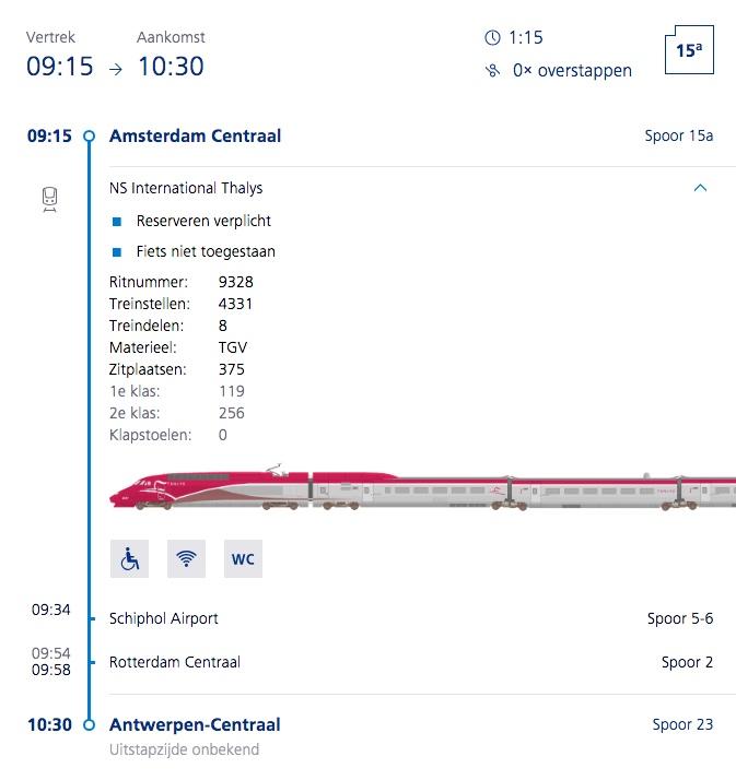 Thalys van Amsterdam naar Antwerpen