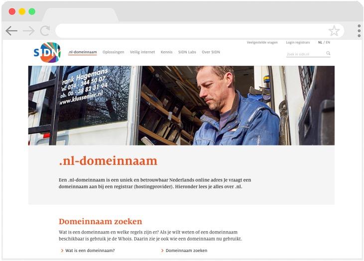 Website van SIDN, Stichting Internet Domeinregistratie Nederland
