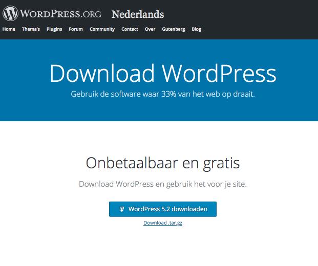 WordPress kun je downloaden vanaf nl.wordpress.org/download