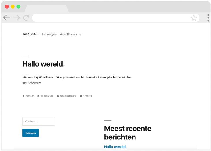 De vormgeving van de website die je hebt gemaakt. Zo ziet het er uit