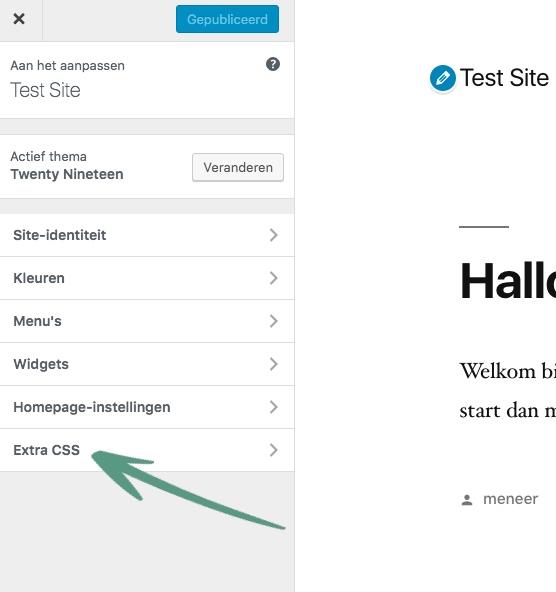 Klik op Extra CSS om aanpassingen in de layout te kunnen doen