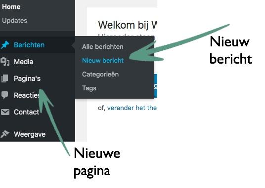 nieuw bericht of nieuwe pagina in WordPress