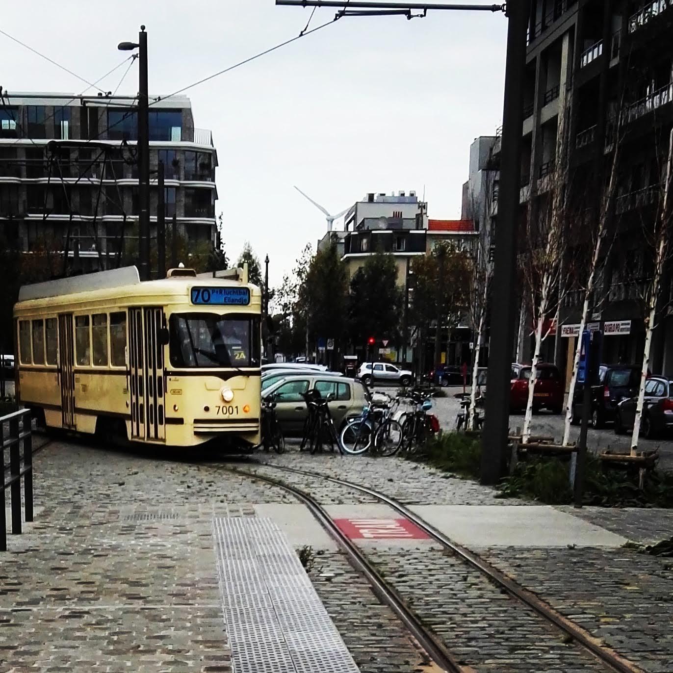 Antwerpen Tramlijn 70, aankomst bij halte het MAS
