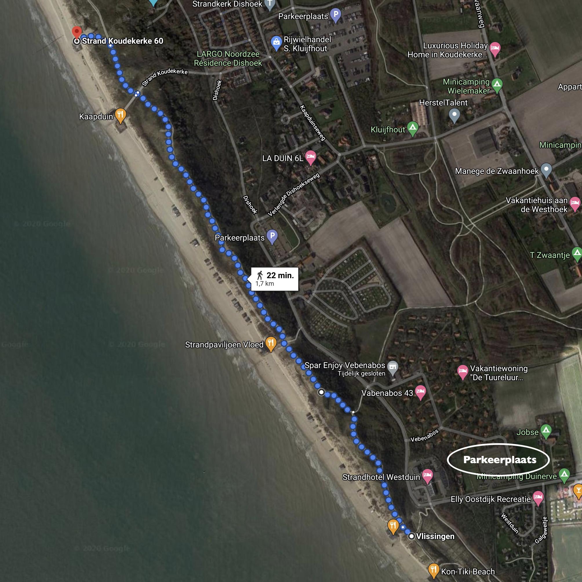 strand wandeling route dishoek