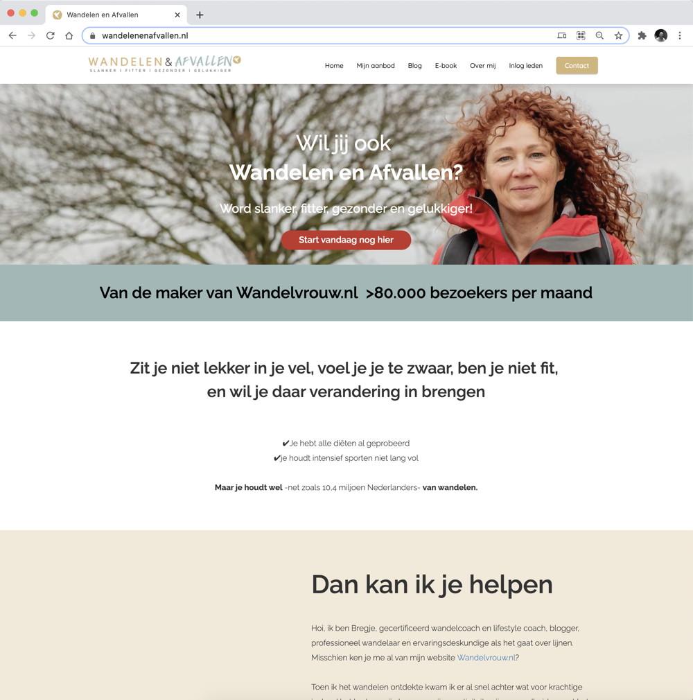 website wandelen en afvallen, Bregje Schipper