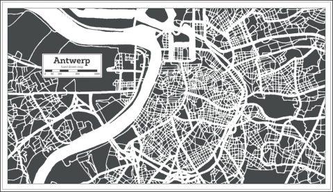 Plattegrond van de stad Antwerpen in retro stijl