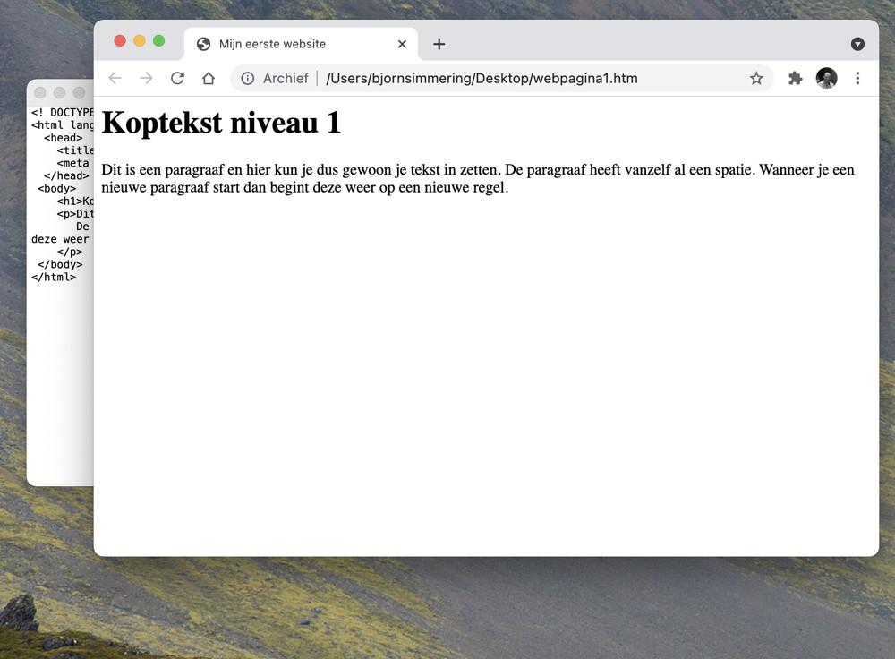 resultaat van webpagina gemaakt op een mac